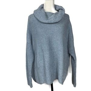 Lou & Grey Light Blue Cowl Neck Sweater Sz Medium